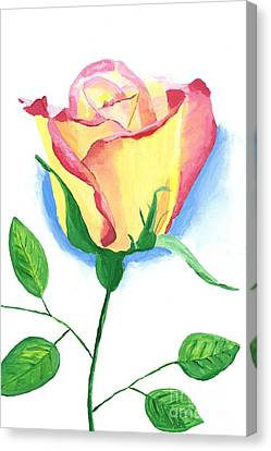 Canvas Print featuring the painting A Single Rose by Rodney Campbell