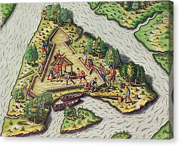 A Site For The Fort Is Chosen Canvas Print by Theodore de Bry