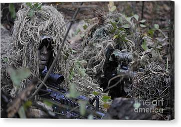 A Sniper Team Spotter And Shooter Canvas Print by Stocktrek Images