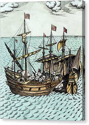 A Spanish Treasure Ship Plundered By Francis Drake Canvas Print by Dutch School
