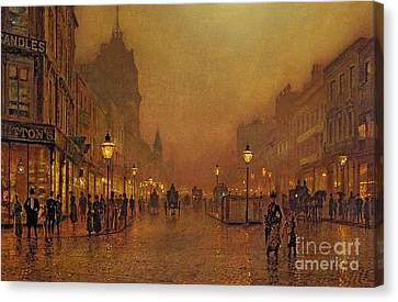 John Atkinson Grimshaw Canvas Print featuring the painting A Street At Night by John Atkinson Grimshaw