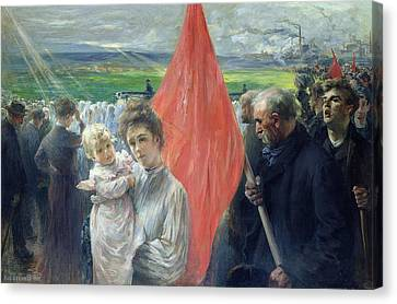 A Strike At Saint Ouen Canvas Print by Paul Louis Delance