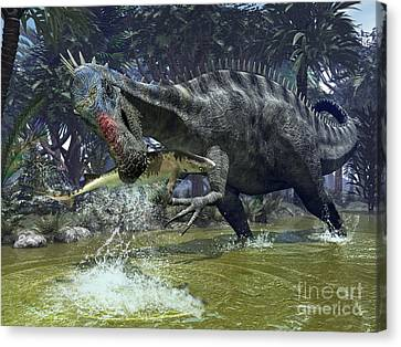 A Suchomimus Snags A Shark From A Lush Canvas Print by Walter Myers