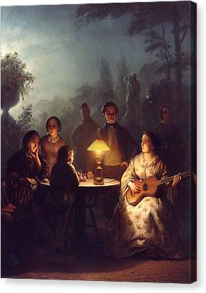 A Summer Evening By Lamp Canvas Print by Petrus van
