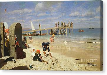 A Sunny Day At The Beach Canvas Print by Wilhelm Simmler