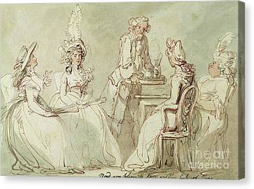 A Tea Party Canvas Print by Thomas Rowlandson