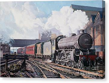 A 'thompson' B1 Class Moving Empty Stock On A Cold February Morning Canvas Print by David Nolan