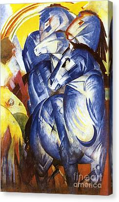 A Tower Of Blue Horses Canvas Print by Franz Marc