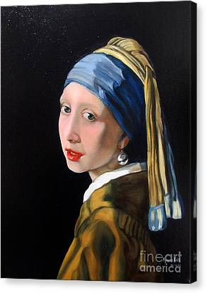 A Tribute To Vermeer - Girl With A Pearl Earring Canvas Print by Aparna Patil