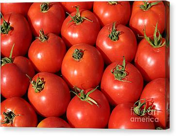 A Trip Through The Farmers Market With Red Tomatoes Canvas Print by Michael Ledray