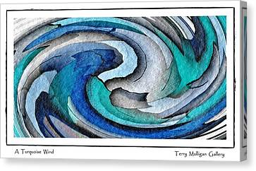 Canvas Print featuring the digital art A Turquoise Wind by Terry Mulligan