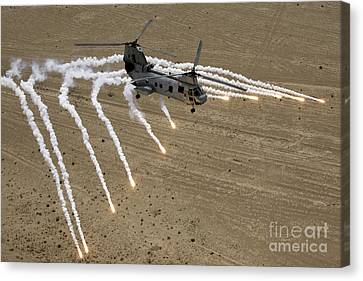 A U.s. Marine Corps Ch-46 Sea Knight Canvas Print by Stocktrek Images