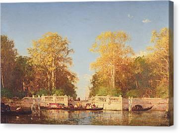 A View In Venice Canvas Print by Felix Ziem