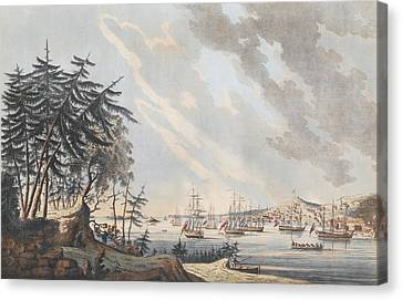 A View Of The Town And Harbour Of Halifax From Dartmouth Shore Canvas Print by Joseph Frederick Wallet DesBarres