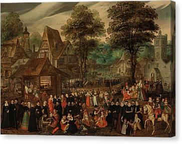 A Village Festival With Elegantly Dressed Figures In Procession Canvas Print by Joris Hoefnagel