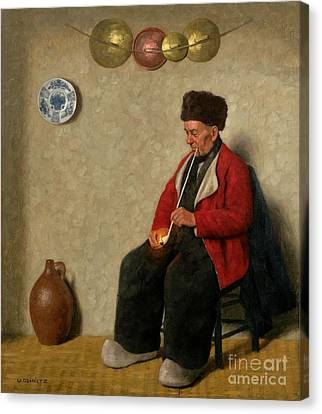 A Volendam Fisherman Lighting His Pipe Canvas Print by MotionAge Designs