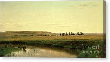 A Wagon Train On The Plains Canvas Print by Thomas Worthington Whittredge