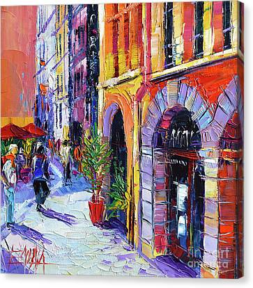 A Walk In The Lyon Old Town Canvas Print by Mona Edulesco
