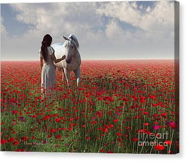 A Walk In The Poppy Field Canvas Print by Diana Voyajolu