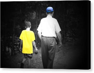 A Walk With Grandpa Canvas Print by Cathy  Beharriell