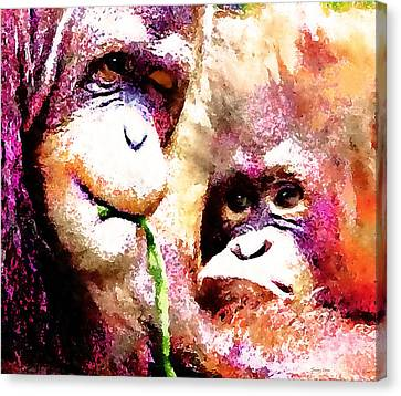 A Wink And A Smile - Orangutan Canvas Print by Stacey Chiew