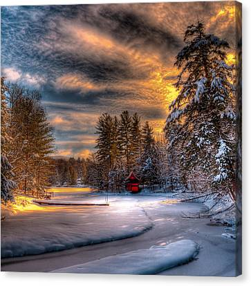 A Winter Sunset Canvas Print by David Patterson