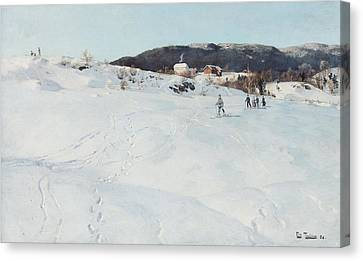 A Winter's Day In Norway Canvas Print by Fritz Thaulow