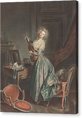 A Woman Playing The Guitar Canvas Print by Jean-Francois Janinet