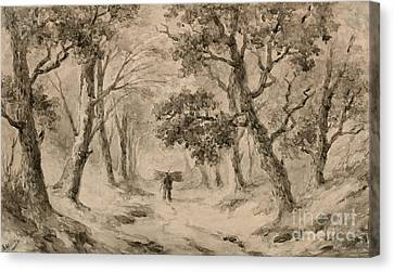 A Wood Gatherer In The Forest Canvas Print by Anton Mauve