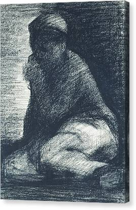 A Young Man Crouching Canvas Print by Georges Pierre Seurat