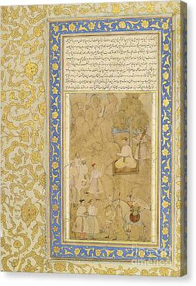 A Youthful Mughal Prince Receiving A Messag Canvas Print by Celestial Images