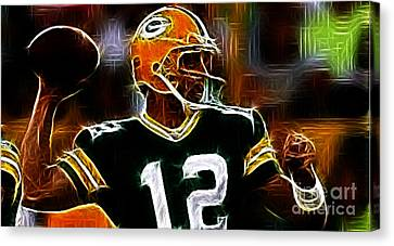 Aaron Rodgers - Green Bay Packers Canvas Print by Paul Ward