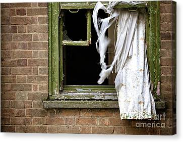 Abandonded Building Window And Curtains Canvas Print by Simon Bratt Photography LRPS