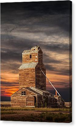 Abandoned Grain Elevator On The Prairie Canvas Print by Randall Nyhof