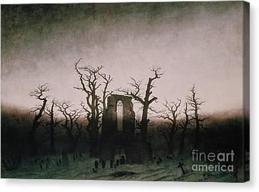 Abbey In The Oakwood Canvas Print by Caspar David Friedrich