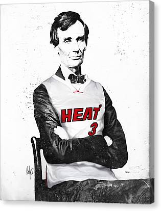 Abe Lincoln In A Dwyane Wade Jersey Canvas Print by Roly Orihuela