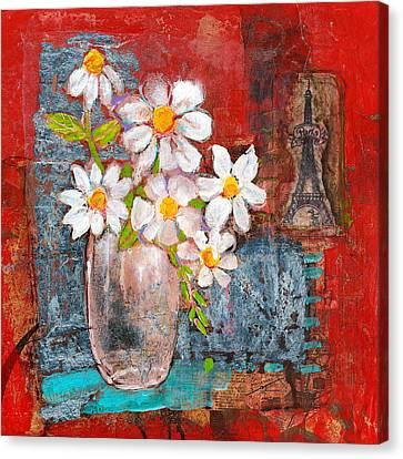 Abigail Daisy Flowers Canvas Print by Blenda Studio