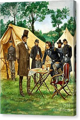 Abraham Lincoln Plans His Campaign During The American Civil War  Canvas Print by Peter Jackson