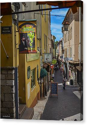 Absinthe In Antibes Canvas Print by Allen Sheffield