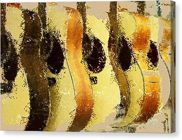 Abstract Acoustic Guitars Canvas Print by David G Paul