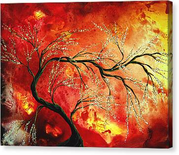 Abstract Art Floral Tree Landscape Painting Fresh Blossoms By Madart Canvas Print by Megan Duncanson