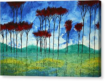 Abstract Art Original Landscape Painting Reflective Beauty By Madart Canvas Print by Megan Duncanson
