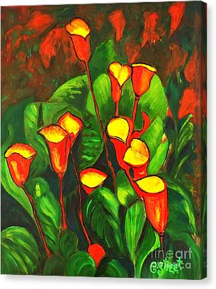 Abstract Arum Lilies Canvas Print by Caroline Street