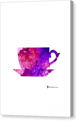 Abstract Cup Of Tea Silhouette Canvas Print by Joanna Szmerdt