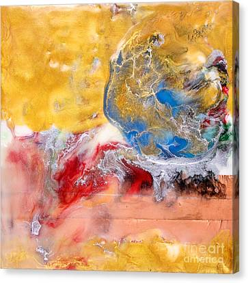 Abstract Encaustic Painting Canvas Print by Edward Fielding