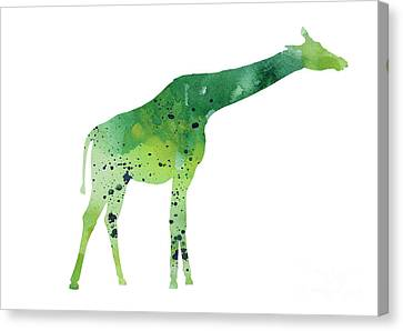 Abstract Green Giraffe Minimalist Painting Canvas Print by Joanna Szmerdt