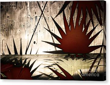 Abstract Landscape With Red Leaves And The Water Canvas Print by Elena Lir-Rachkovskaya