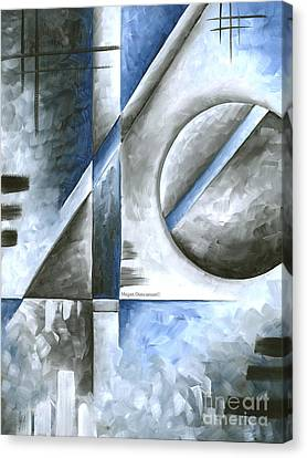 Abstract Original Art Contemporary Blue And Gray Painting By Megan Duncanson Blue Destiny I Madart Canvas Print by Megan Duncanson