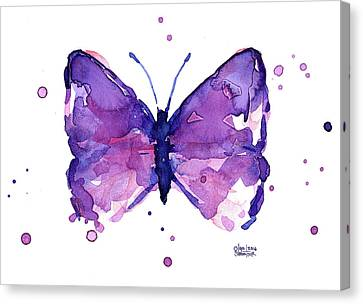 Abstract Purple Butterfly Watercolor Canvas Print by Olga Shvartsur