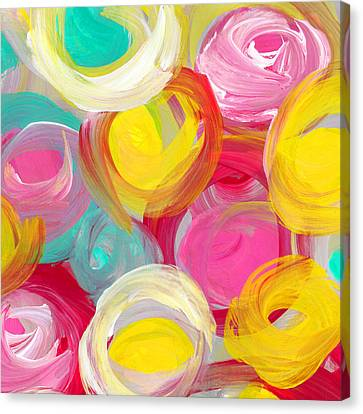 Abstract Rose Garden In The Morning Light Square 1 Canvas Print by Amy Vangsgard